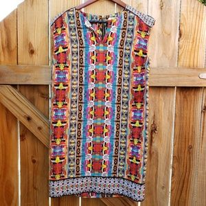 Laundry by Design Colorful Sleeveless V Neck Dresd